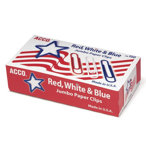 ACCO® Nylon Coated Paper Clips, Smooth Finish, Jumbo Size,  Red, White & Blue, 150/Box