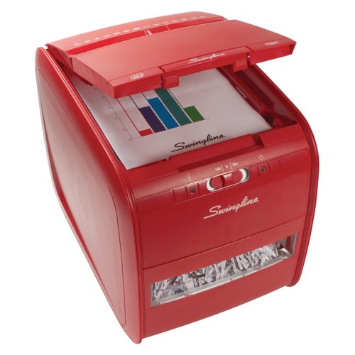 Swingline® Stack-and-Shred™ Red 60X Auto Feed Shredder, Cross-Cut, 60 Sheets, 1 User