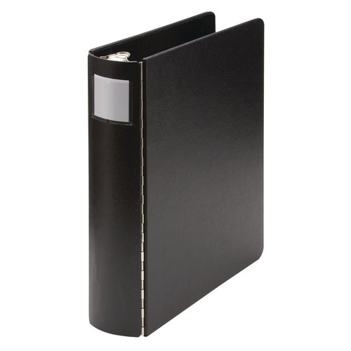 "Wilson Jones® Casebound 4 Ring Binder with Label Holder, 8 1/2"" x 14"" Sheet Size, 2"" Capacity, Black"