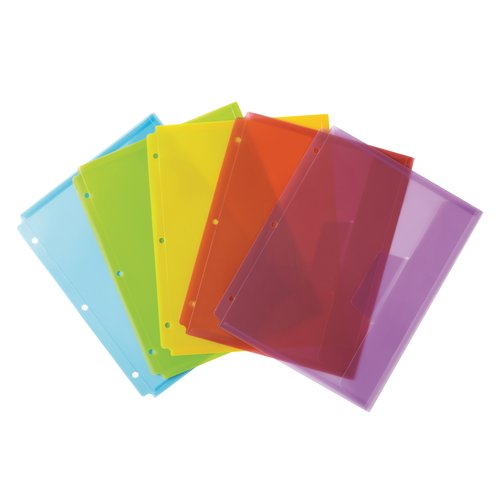 Wilson Jones® Poly Tabbed Envelope, Pre-punched, Letter Size, Student Color Assortment