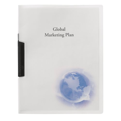 GBC® Globe Swing Clip Report Cover, Punchless, 30 Sheets, Frost with Globe Design