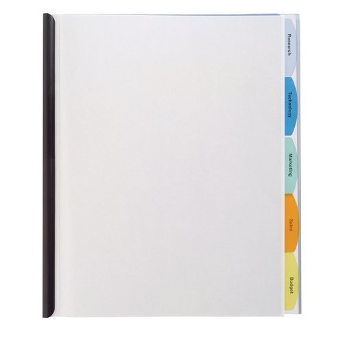 GBC® View-Tab® Report Cover, Punchless, 5 Tabs, 20 Sheets, Clear