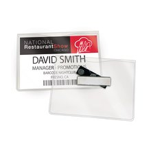 GBC Magnetic Badge Holders, 3 Touch Point Magnet, For Horizontal 4 x 3-Inch Inserts, Clear, 6 Pack (3748103A)