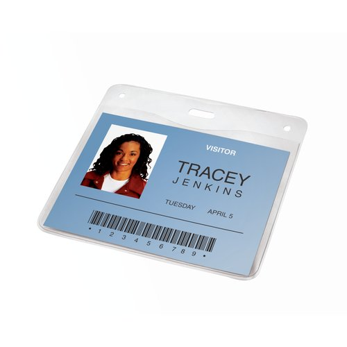 "Swingline™ GBC® ID Badge Holder, Horizontal, 4"" x 3"", Clear, 10 Pack"