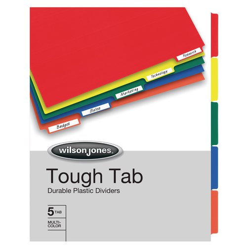 Wilson Jones® Tough Tab Poly Dividers, 5-Tab Set, Self-adhesive, Multicolor Tabs
