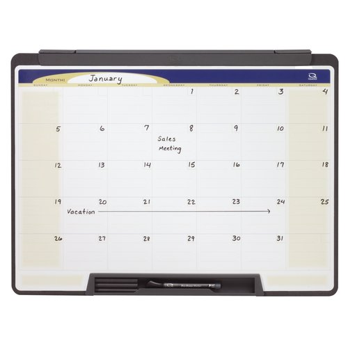 "Quartet® Motion® Cubicle Calendar Whiteboard, 24"" x 18"", One Month Design"
