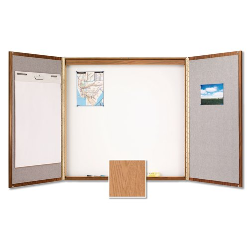 Quartet® Laminate Conference Room Cabinet, 4' x 4', Whiteboard/Bulletin Board Interior, Oak Finish