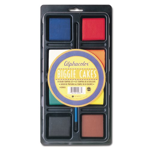 Alphacolor® Biggie Cakes, Tempera Set, Assorted Colors, 8/Tray