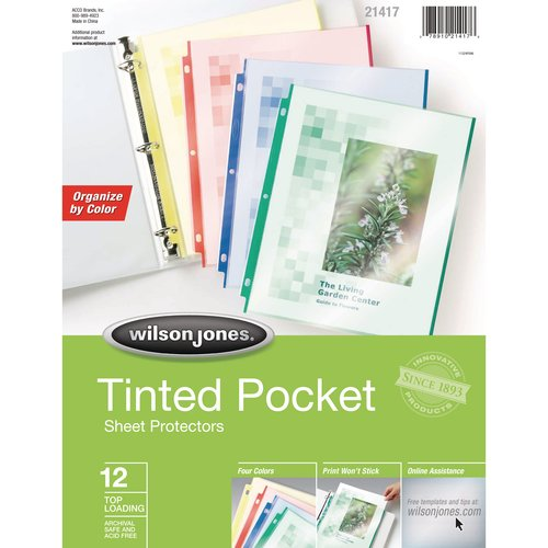 Wilson Jones® Tinted Pocket Sheet Protectors, Assorted Colors, 12/Box