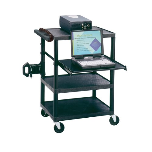 Quartet® Duracart™ Multimedia Projector Cart With Laptop Shelf, 3 Shelves, 3-Plug Outlet, Black