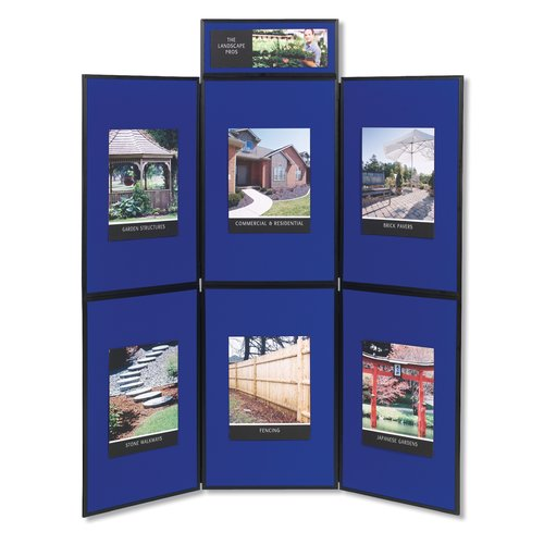 Quartet® Show-It! 3-Panel Display System, 6' x 6', Double-sided, Blue/Gray