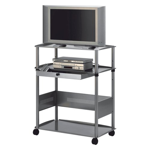 "Quartet® Euro™ Wide Screen AV Cart, 3 Shelves, 3-Plug Outlet, Fits 28"" Monitors"