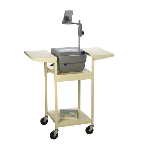 "Quartet® Steel Overhead Projector Cart, 3 Shelves, 3-Plug Outlet, 39"" Top Shelf"