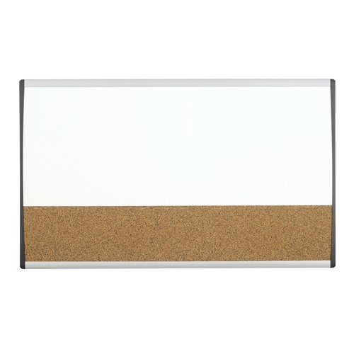 "Quartet® Arc™ Cubicle Combination Board, 30"" x 18"", Whiteboard/Cork Surface, Aluminum Frame"