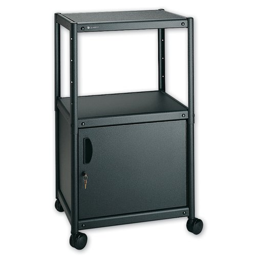 Quartet® Adjustable Height AV Cart, 2 Shelves, 3-Plug Outlet, Cabinet