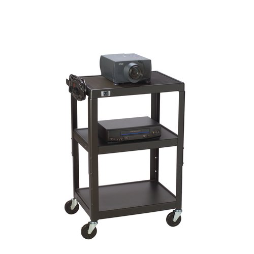Quartet® Adjustable Height AV Cart, 3 Shelves, 3-Plug Outlet