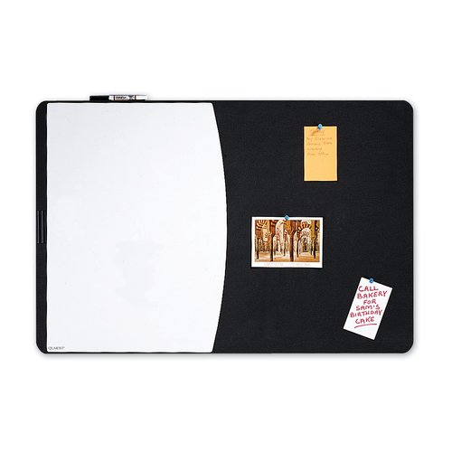"Quartet® Designer™ Tack & Write® Cubicle Combination Board, 35"" x 23 1/2"", Black Frame"