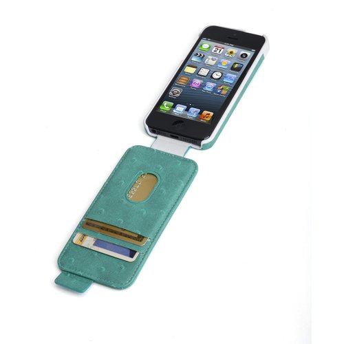 Portafolio™ Flip Wallet for iPhone® 5 - Teal Ostrich