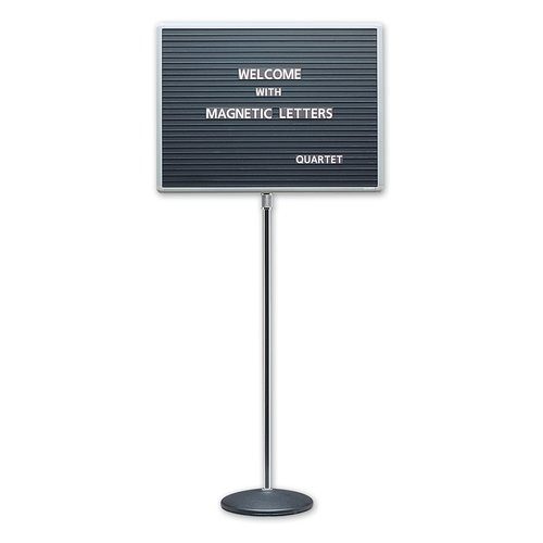"Quartet® Adjustable Single Pedestal Letter Boards, 20"" x 16"", Magnetic, Aluminum Frame"