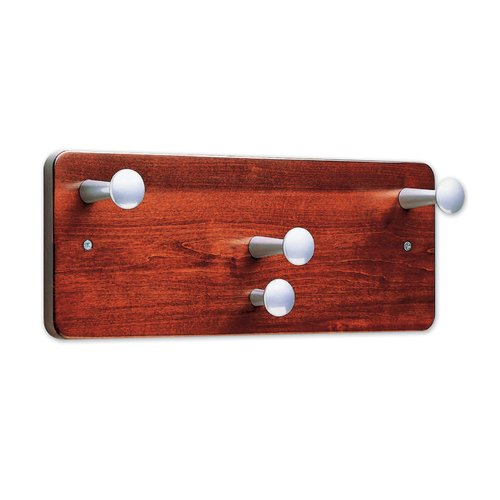 "Quartet® Wall Rack, 7"" x 18"", Four Posts, Mahogany Finish"