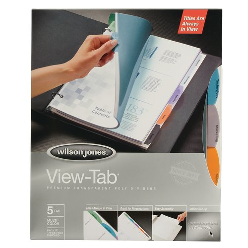 Wilson Jones® View-Tab® Transparent Dividers, 5-Tab Set, Metallic Multicolor Square Tabs