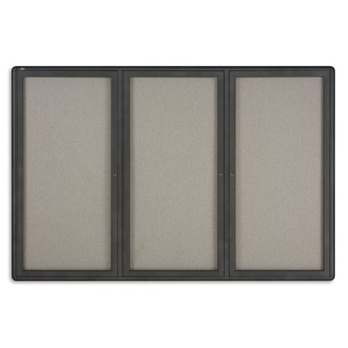 Quartet® Enclosed Radius Fabric Bulletin Board, 6' x 4', 3 Door, Graphite Frame