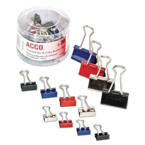 ACCO® Binder Clips, Assorted Sizes & Colors, 30/Pack