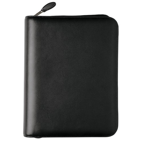 Desk size - Personal Organiser - Armorhide Leather Binder - Zippered - Black - 1PPD January 14
