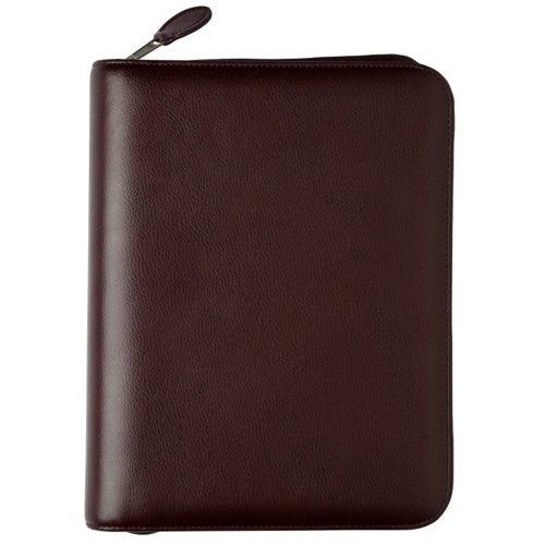 Desk size - Personal Organiser - Armorhide Leather Binder - Zippered - Burgundy - 1PPD October 13