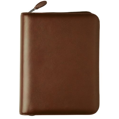 Desk size - Personal Organiser - Armorhide Leather Binder - Zippered - Dark Tan - 2PPD July 13