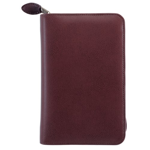 Portable size - Personal Organiser - Armorhide Leather Binder - Zippered - Burgundy - 1PPD Jan 14