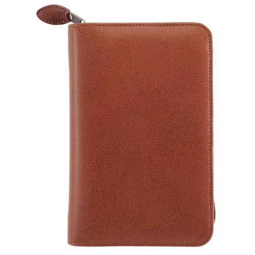 Portable size - Personal Organiser - Armorhide Leather Binder - Zippered - Dark Tan - 2PPD Oct 13