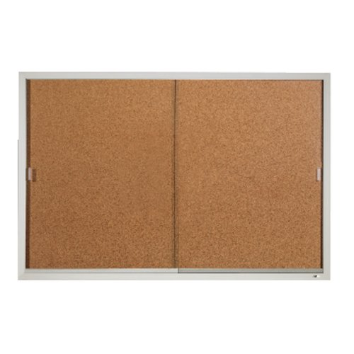 Quartet® Enclosed Cork Bulletin Board for Indoor Use, 6' x 4', Sliding Door, Aluminum Frame