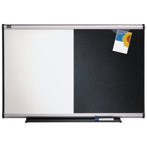 Quartet® Prestige® Combination Board, 3' x 2', Total Erase®/Embossed Foam, Aluminum Frame