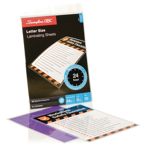 Swingline™ GBC® SelfSeal™ NoMistakes™ Repositionable Self Adhesive Laminating Sheets, Letter Size, 3 Mil, 10 Pack