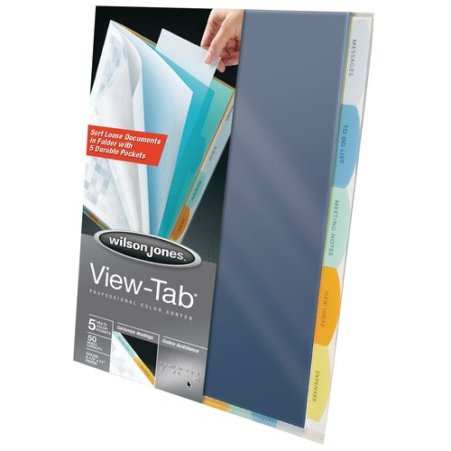 Wilson Jones® View-Tab® Professional Sorter, 5-Tab Set, Multicolor
