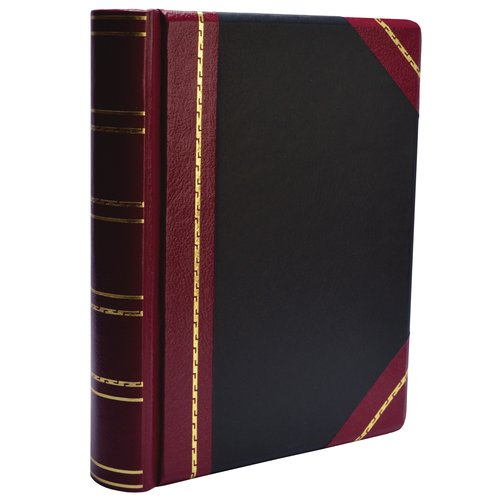 "Wilson Jones® Minute Book,  Letter Size 8 1/2"" x 11"", 500 Pages, Red & Black Imitation Leather"