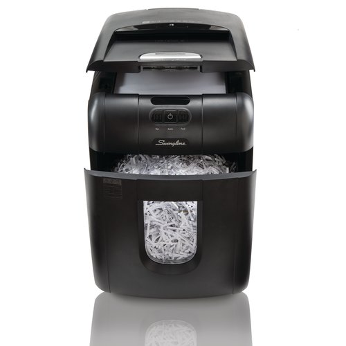 Swingline® Stack-and-Shred™ 100X Auto Feed Shredder, Super Cross-Cut, 100 Sheets, 1-2 Users
