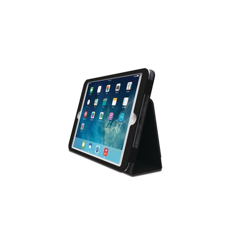 Funda tipo libro flexible con soporte Comercio™ para iPad® Air - Negro Dermal