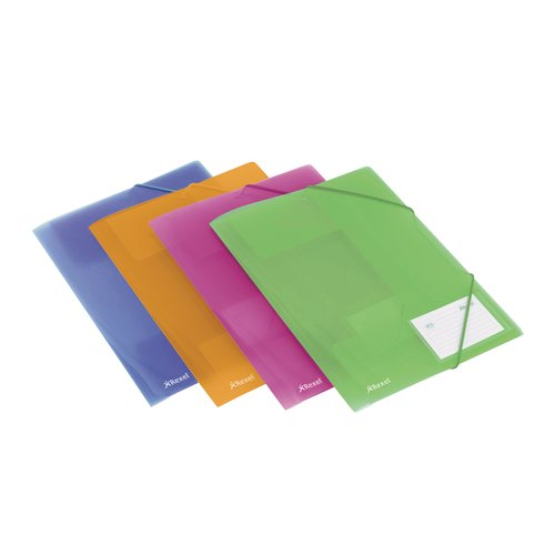 Ice Four Fold Flap File Assorted Colours (4)