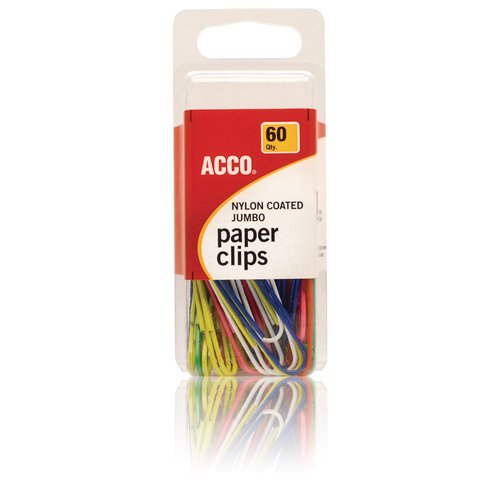 ACCO® Paper Clips, Nylon Finish, Jumbo Size, 60/Box