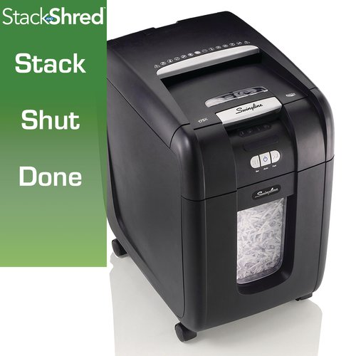 Swingline® Stack-and-Shred™ 175X Hands Free Shredder, Super Cross-Cut, 175 Sheets, 1-5 Users