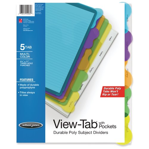 Wilson Jones® View-Tab® Transparent Dividers, Student Set w/Pocket, 5-Tab, Multicolor