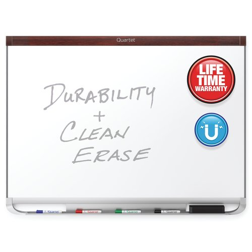 Quartet® Prestige® 2 DuraMax® Porcelain Magnetic Whiteboards, Mahogany Finish Frame