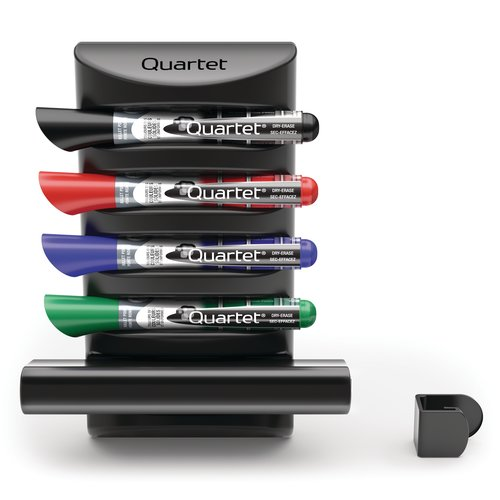 Quartet® Prestige® 2 Connects™ Marker Caddy, 4 EnduraGlide® Dry-Erase Markers, 1 Eraser