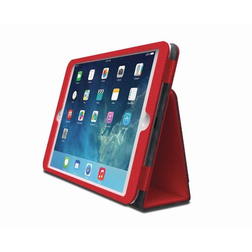 Funda tipo libro flexible con soporte Comercio™ para iPad® Air - Rojo Vivo