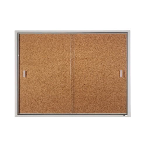 Quartet® Enclosed Cork Bulletin Board for Indoor Use, 4' x 3', Sliding Door, Aluminum Frame