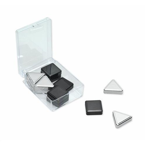 Quartet® Metallic Magnets, Includes Squares & Triangles, 12/Set, Silver/Graphite