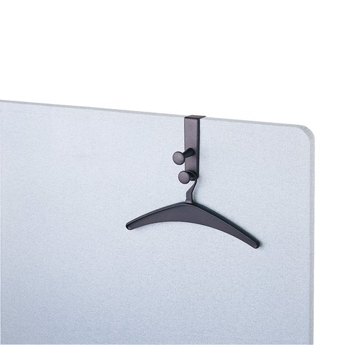 "Quartet® Over-the-Panel Hook, 6 7/8"", Double Posts, 2 Hangers Included, Black"