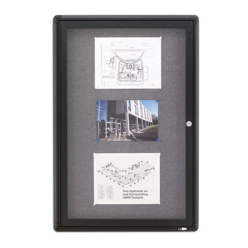 Quartet® Enclosed Radius Fabric Bulletin Board, 2' x 3', 1 Door, Graphite Frame